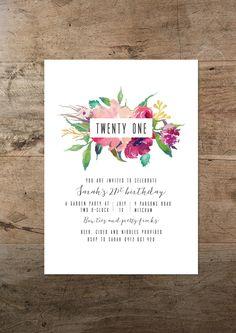 21e verjaardagsuitnodiging afdrukbare eenentwintigste