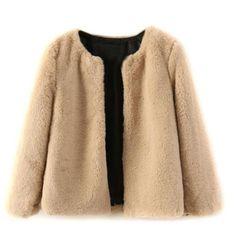Camel Faux Fur Long Sleeve Cropped Coat   #USTrendy  www.ustrendy.com