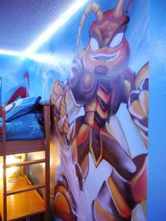 Merveilleux Children / Teen / Kids Bedroom Graffiti Mural   #handpainted #graffiti  #featurewall #