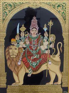 Mysore Painting, Madhubani Painting, Traditional Paintings, Traditional Art, Yashoda Krishna, Temple India, Kali Goddess, Indian Folk Art, Hindu Art