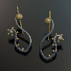 "Earrings | Jack and Elizabeth Gaultieri.  ""Etrusco Collection""  Forged and blackened sterling silver, 22 & 18k gold, with diamonds."