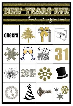 New Years Eve Printable Bingo Card!  Perfect for a family friendly New Year's Eve! Capturig-Joy.com