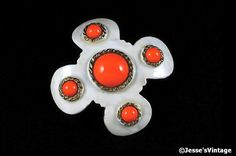 Signed Hobe Brooch Enamel Coral White Dimensional by JessesVintage