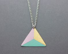 Three Colour Triangle Necklace (Blue - Pink - Bronze)
