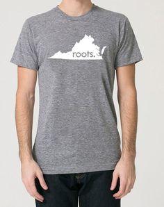 Virginia VA Roots Tri Blend Track T-Shirt - Unisex Tee Shirts Size S M L XL