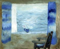 View through a Window with Blue Curtains and a Chair, c1960, Winifred Nicholson.