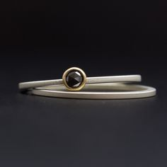 Tiny Rose Cut Black Diamond Sterling & Gold Ring Set