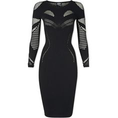 Mcq Alexander Mcqueen Long Sleeve Mesh Dress (£180) ❤ liked on Polyvore featuring dresses, short dresses, black, long sleeve black cocktail dress, black mesh dress, long sleeve black dress and black dress