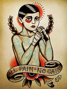 Traditional Boxer Boy Tattoo Art Print - LoveItSoMuch.com