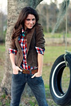 Plaid Shirt, Corduroy Blazer, Jeans, Boots ♥ the outfit I've been looking for. Blazer Jeans, Brown Blazer, Plaid Blazer, Blazer Outfits, Casual Outfits, Fashion Outfits, Brown Corduroy Jacket, Corduroy Blazer, Brown Jacket