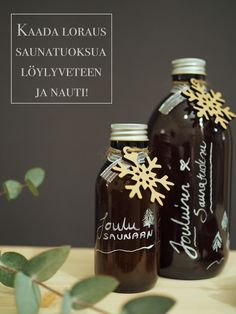joulusaunatuoksu Diy Presents, Diy Gifts, Christmas Diy, Xmas, Holiday, Idee Diy, Coffee Bottle, Aromatherapy, Handmade