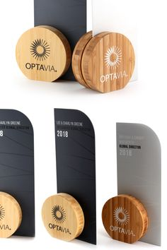 These little beauties custom designed for our client Optavia are made from sustainable bamboo and feature a modern metal silhouette. Trophies And Medals, Custom Trophies, Price Signage, Carta Restaurant, Fuze Tea, Acrylic Trophy, St Hubert, Acrylic Awards, Trophy Design
