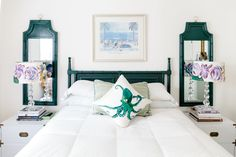 The Dixie Greek Key Headboard was from Stuff Vintage in Greensboro (now closed), and Kate refinished it with Rustoleum Dark Hunter Green paint.
