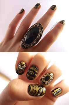 Gorgeous gold and black nails