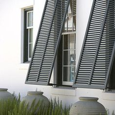 Shutters for Beauty and Function - Best Outdoor Space: Outstanding Architecture… Bermuda Shutters, Bahama Shutters, Outdoor Shutters, Window Shutters, Black Shutters, Alys Beach Florida, Hurricane Shutters, Windows And Doors, Garage Windows