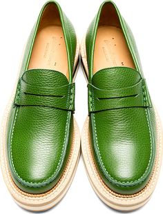 Giuliano Fujiwara - Green Grained Leather Penny Loafers | SSENSE