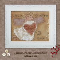 Inspirational Primitive Stitchery Angel Embroidery Pattern #311