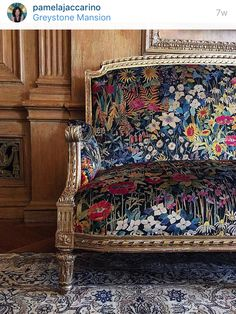 12 a vintage sofa with a gilded frame and dark upholstery with muted florals - Shelterness Upholstered Furniture, Decor, Chair, Upholstery Cushions, Furniture, Floral Chair, Living Room Upholstery, Vintage Sofa, Upholstered Chairs