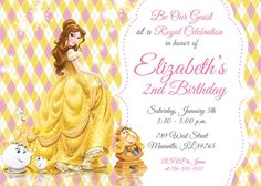 Birthday Invitation Rose Beauty And The Beast By ThePIYLife