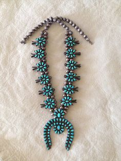 Native American Old Pawn Zuni sterling silver and turquoise Squash Blossom