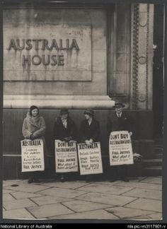 Protest against treatment of British soldier settlers in the Australian War Service Land Settlement Scheme, outside Australia House, London c1938