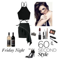 """My Friday Night Fashion"" by kotnourka ❤ liked on Polyvore featuring Yves Saint Laurent, Alexander Wang, Vince, Judith Leiber, Bobbi Brown Cosmetics, MAC Cosmetics, Charlotte Russe, asymmetricskirts and 60secondstyle"