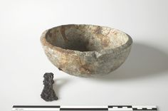 Viking Soapstone Vessel and Iron Axe. Ask, Norway