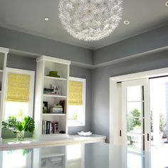 (these shades) Have always wanted this paper chandelier somewhere in our home. maybe laundry room or office. Eclectic Home Office Design, Pictures, Remodel, Decor and Ideas - page 2 Office Paint Colors, Room Colors, Wall Colors, Paint Colours, Design Eclético, House Design, Design Ideas, Wall Design, Dunn Edwards Paint