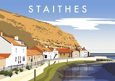 Inspired by mid century travel posters, this superb hand-drawn digital art print of Staithes by Richard O'Neill makes a great gift and is perfect for framing. All prints are individually signed by the artist. Gloucester Cathedral, Lighthouse Art, Cross Art, Railway Posters, Cottage Art, Contemporary Landscape, Vintage Travel Posters, Buy Prints, Illustration