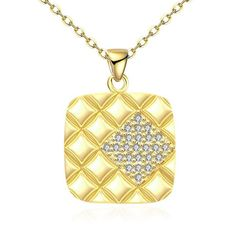 """Gold Plated Square Necklace (PS# 9225) mrdaveprn.com  Lead and Nickle Free Pendant Dimensions:2.7 X 1.8 CM  Chain Dimensions: 18"""" Inches + 2"""" Inches Extender Gold Plating over Brass Weight (grams) :8.00 AAAA Top Quality. Top Clarity. Cubic Zirconia. Made to last a lifetime Please allow up to 4 weeks for delivery (usually 3-5 days for this product in the U.S.A.) Safe and secure checkout"""
