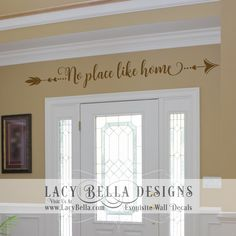 """Entryway Family Vinyl Wall Decal """"No place like home"""" trendy arrow accent - Decor Vinyl Wall Quotes, Wall Decal Sticker, Vinyl Wall Decals, Wall Stickers, Creative Wall Decor, Diy Wall Decor, Unique Home Decor, Kitchen Wall Decals, Design Your Own Home"""