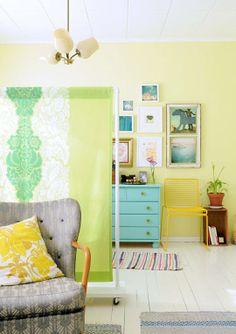 Homemade fabric room divider