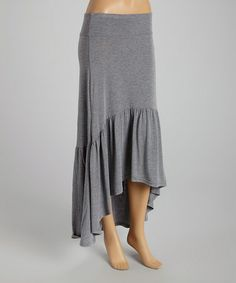 Love this Heather Gray Ruffle Hi-Low Skirt by Poof Apparel on #zulily! #zulilyfinds
