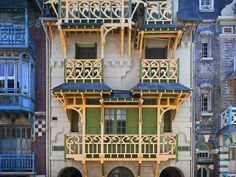 Colorful balconies in Mers Les Bains in Picardy, France Fort Mahon Plage, Architecture Art Nouveau, Saint Valery, Beauvais, Canvas Art Quotes, Watercolor Video, Amiens, Cool Doors, Oise
