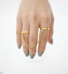 16k Gold Plated Adjustable Rings, Double Ring, Antique Brass and Gold Chains, Ring on Etsy, $14.00