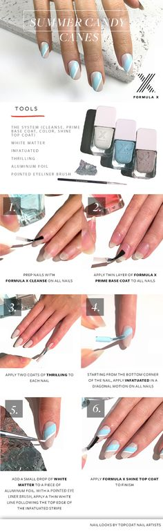Summer Candy Canes HOW TO by FormulaX for #Sephora #SephoraNailspotting #beautytutorial #nails #nailart