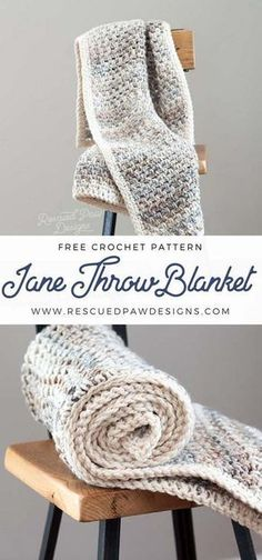 Jane Throw Blanket ⋆ Rescued Paw Designs Crochet by Krista Cagle Jane Crochet Throw & Easy Crochet Blanket Pattern - Hand crochet this beautiful free crochet throw blanket pattern using simple stitches today! Crochet Afghans, Crochet Throw Pattern, Crochet Motifs, Afghan Crochet Patterns, Baby Blanket Crochet, Hand Crochet, Crochet Throws, Crochet Gifts, Wire Crochet