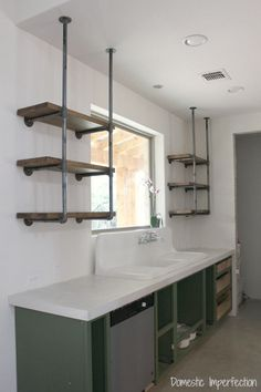 Industrial Pipe Kitchen Shelving : How to make industrial pipe shelving - includes instructions and cost breakdown and decor from Industrial Pipe Shelves, Industrial Interior Design, Industrial Interiors, Industrial House, Industrial Furniture, Kitchen Furniture, Furniture Stores, Industrial Kitchens, Industrial Table