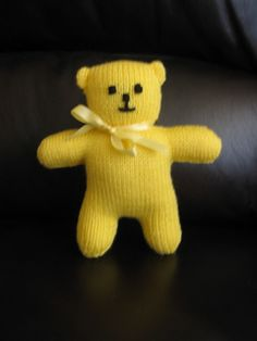 I wanted a simple toy that could be knitted up quickly using leftover yarn from my stash. This cute bear is knitted in one piece and can be completed in an evening or two.