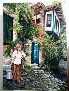 "Photo from album ""ПЕЙЗАЖ"" on Yandex. Pictures To Paint, Nature Pictures, Landscape Art, Landscape Paintings, Foto Gif, Turkish Art, Garden Terrarium, Acrylic Painting Techniques, Old Houses"