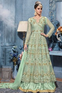 Aqua Green Poncho Style Net Embroidered Anarkali Dress With Dupatta Pakistani Salwar Kameez, Anarkali Suits, Lehenga Choli, Punjabi Suits, Long Anarkali, Net Lehenga, Lehenga Style, Kurti, Sarees