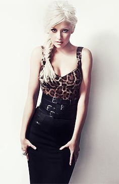 Christina Aguilera in Dolce and Gabbana leopard print & a pencil skirt for InStyle Magazine   Gorgeous hair, love a good braid!