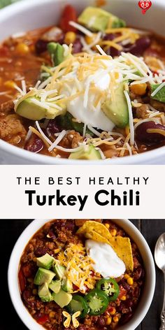 The Best Healthy Turkey Chili -   - #BreakfastRecipes #chili #CleanEating #GlutenFree #healthy #turkey<br> Good Healthy Recipes, Healthy Drinks, Paleo Recipes, Crockpot Recipes, Paleo Food, Healthy Foods To Make, Healthy Chili, Detox Drinks, Lunch Recipes