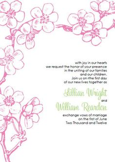 Invitations. Vintage Pink Cherry Blossom Invitation Template Kit. Printable kits include: Invites, RSVP's, Thank You Cards and more... These are perfect for your spring or summer wedding!