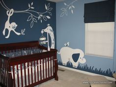 jungle theme nursery room.