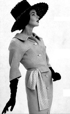 1959 Model in wool dress by Charles Montaigne, photo by Jacques Decaux