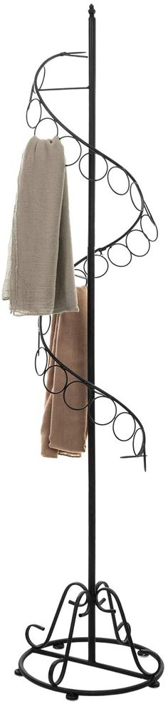 Amazon.com: MyGift 25 Rings Freestanding Scarf Organizer Holder/Shawl Display Tree with Black Metal Spiral Design: Home & Kitchen Scarf Holder, Scarf Organization, Black Rings, Home Collections, Black Metal, Spice Things Up, Retail Displays, Spiral, Clutter