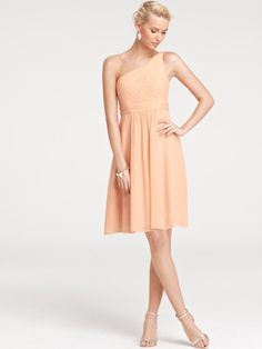 beautifully casual one-shoulder knee length bridesmaid dress under 100