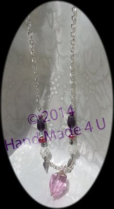 Pink Glass Pendant Pink and Purple Necklace by KraftyHeadquarters
