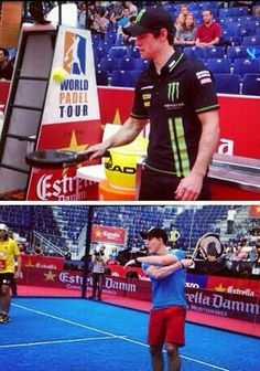 Cal crutchlow and pol espargaro playing padel in valencia before the final race of the season 2013